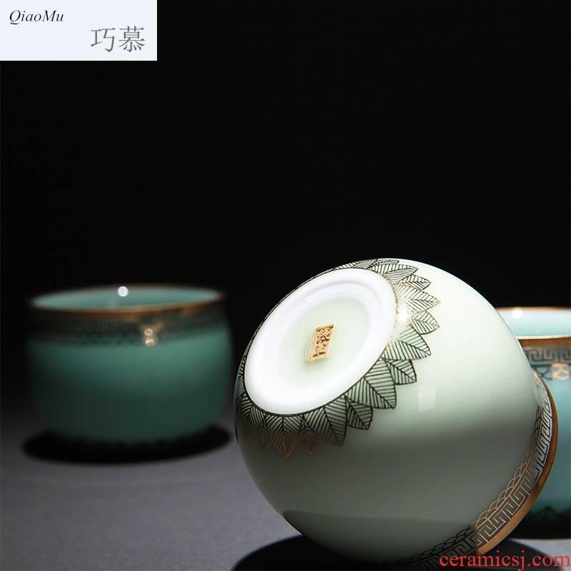 Qiao mu of gold paint jingdezhen ceramic all hand undressed ore longquan celadon glaze color sample tea cup tea cups