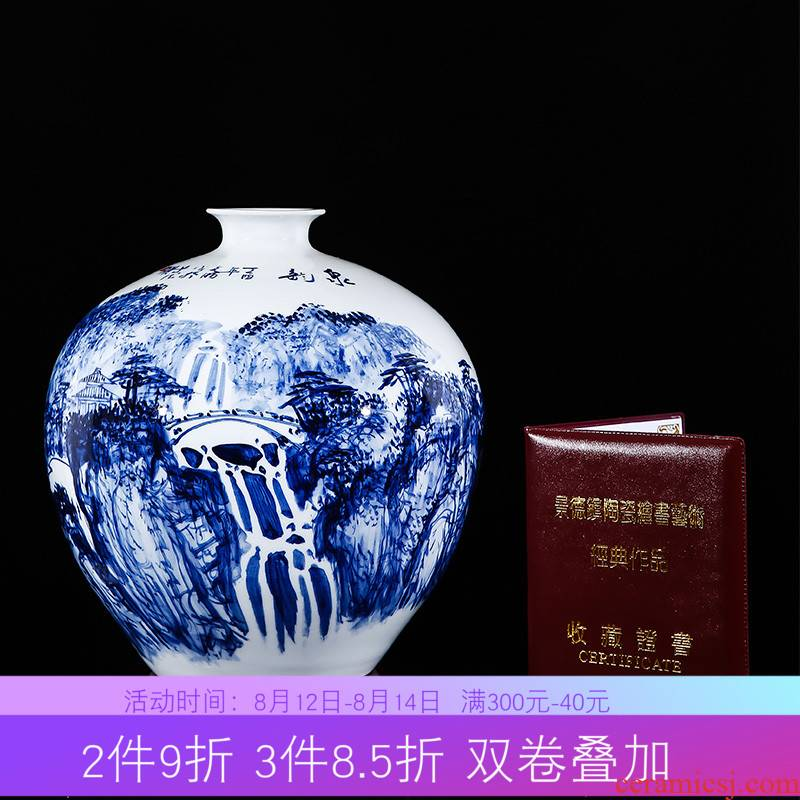 Jingdezhen ceramics Chinese style household adornment hand - made scenery of blue and white porcelain vase sitting room porch flower arranging furnishing articles