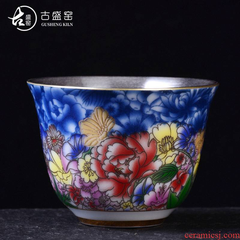 Ancient sheng up new hand - made ginkgo coppering. As the master sample tea cup pure manual colored enamel of blue and white porcelain tea cups, trumpet