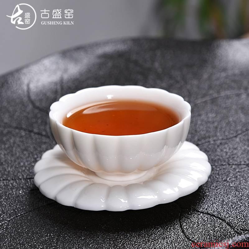 Ancient sheng up new name plum flower jade porcelain kung fu tea set dehua white porcelain bowl with individual main ceramic tea cups of tea cups