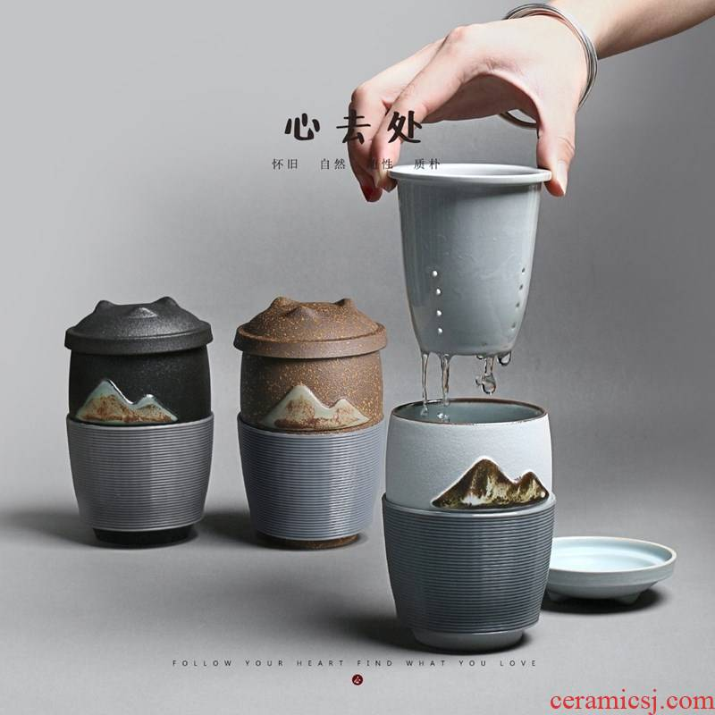 Pure manual glazed ceramic tea cups separation filter with lazy people make tea cup of Japanese office cup