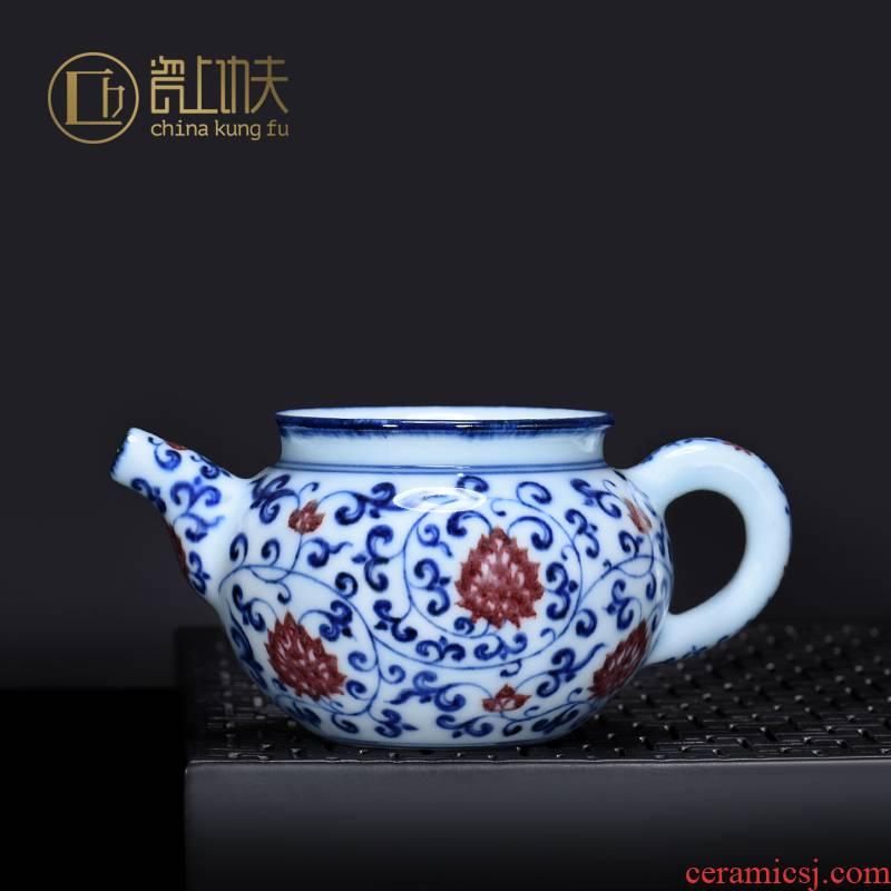 Jingdezhen blue and white porcelain youligong checking ceramic fair keller household hand - made tea tea lotus flower pot