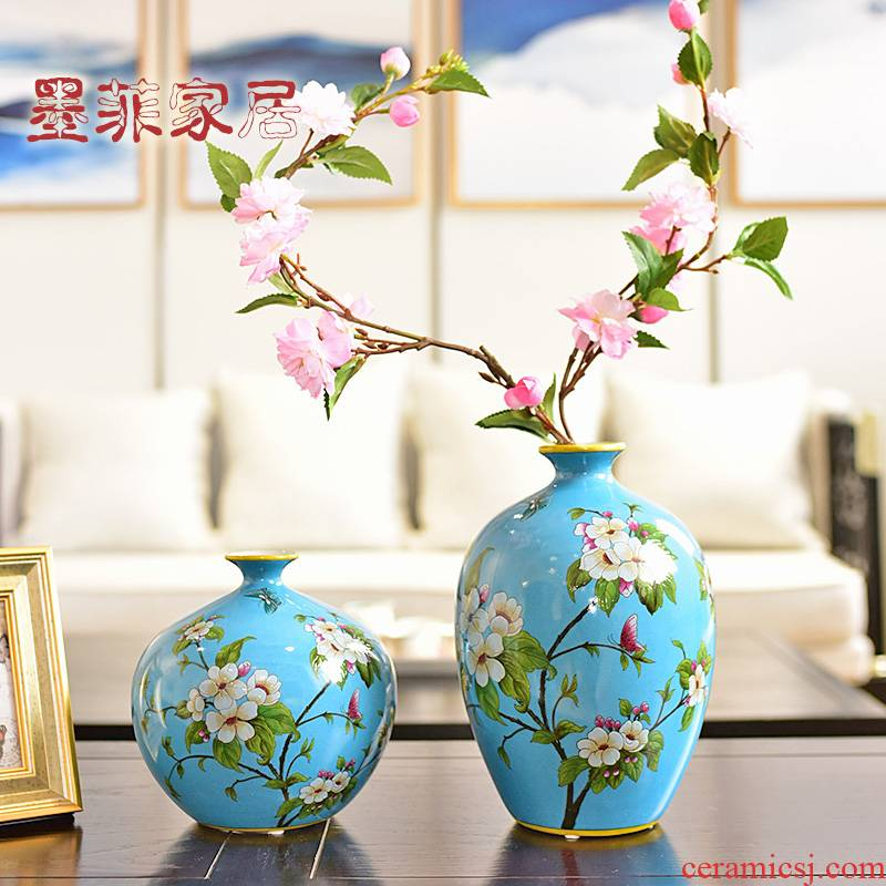 New Chinese style jingdezhen ceramic vase furnishing articles wine TV ark, sitting room porch decoration home decoration process