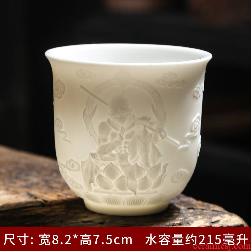 Jingdezhen ceramic paint master cup single CPU suet jade white porcelain tea cups kung fu tea cups. A single