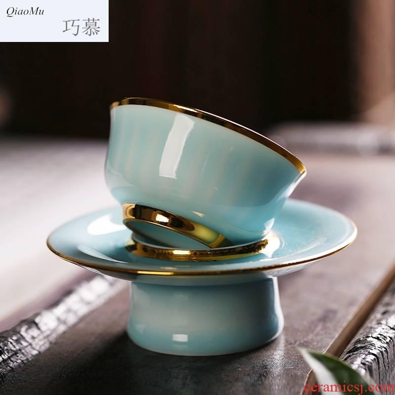 Qiao mu longquan celadon kung fu tea set all hand sample tea cup tea saucer, sample tea cup to watch a play