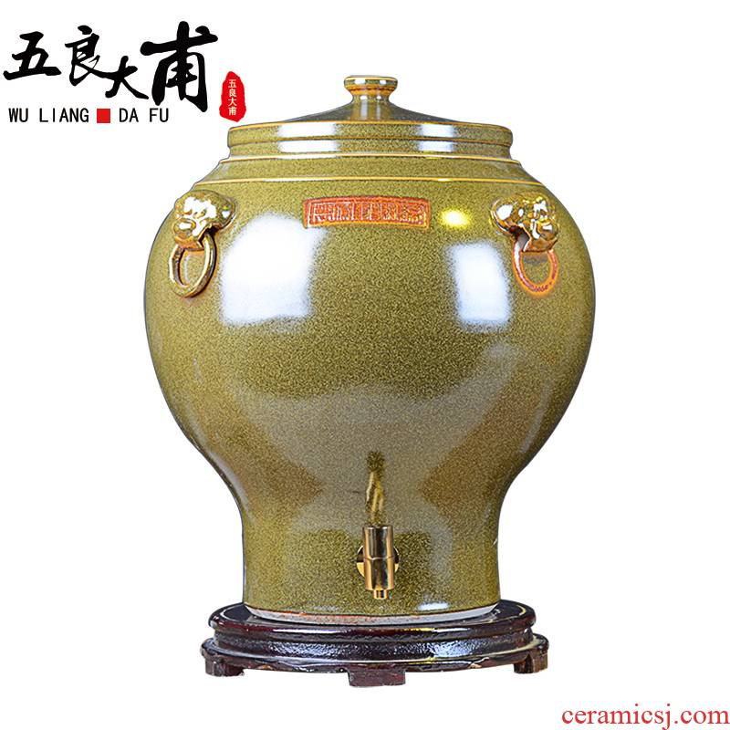 Jingdezhen ceramic jars at the end of the water bucket cylinder barrel 30 jins 50 kg 100 catties 200 jins with leader