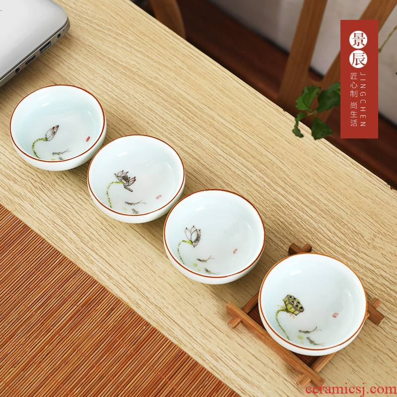Jingdezhen ceramic creative hand - made teacup pu - erh tea cup home meeting of kung fu master cup single cup sample tea cup