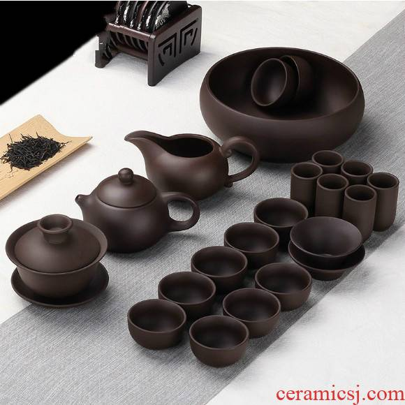 Violet arenaceous kung fu tea set of household ceramic tea cup small set of simple office contracted mini the teapot