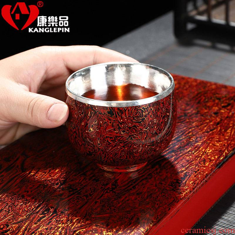 Recreational product jingdezhen lacquer kung fu tea set of the big cup silver cup ceramic masters cup silvering tea cup