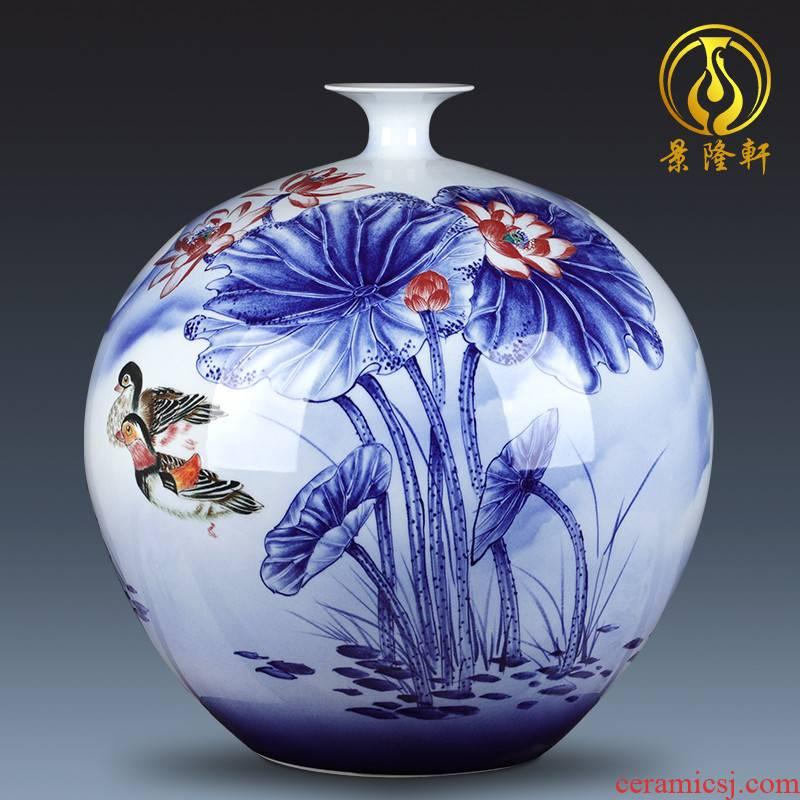 Jingdezhen ceramic vase large hand - made one hundred good pomegranate gift collection villa hotel decoration furnishing articles