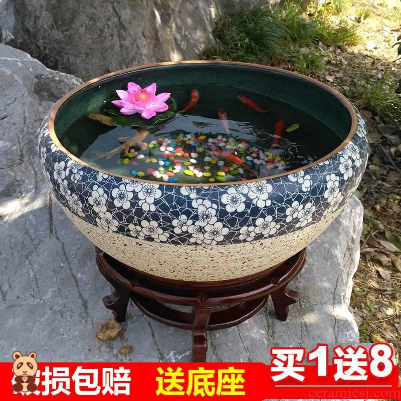 Aquarium lotus goldfish turtle pond lily flower POTS outside the courtyard indoor VAT king old ceramic cylinder