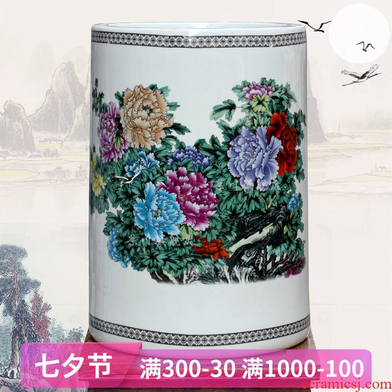 Jingdezhen ceramic riches and honor peony flowers small quiver sitting room office mesa study vase furnishing articles