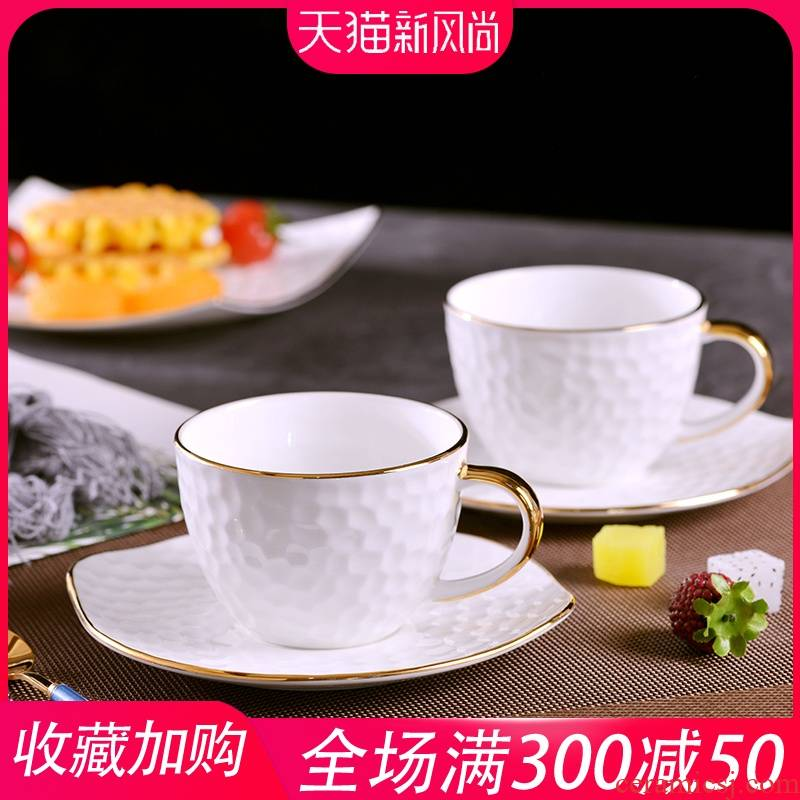 European creative manual gold 】 【 relief grain ceramic coffee cups and saucers suit ipads porcelain cup of milk for breakfast cup