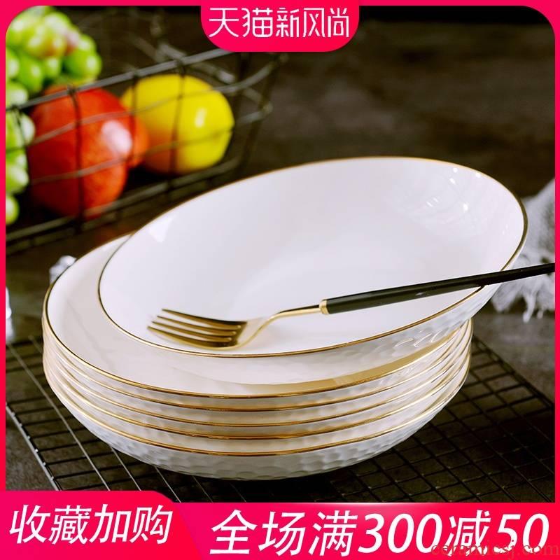 Up Phnom penh ipads porcelain FanPan suit jingdezhen home European round disc creative dish plate web celebrity pasta dishes