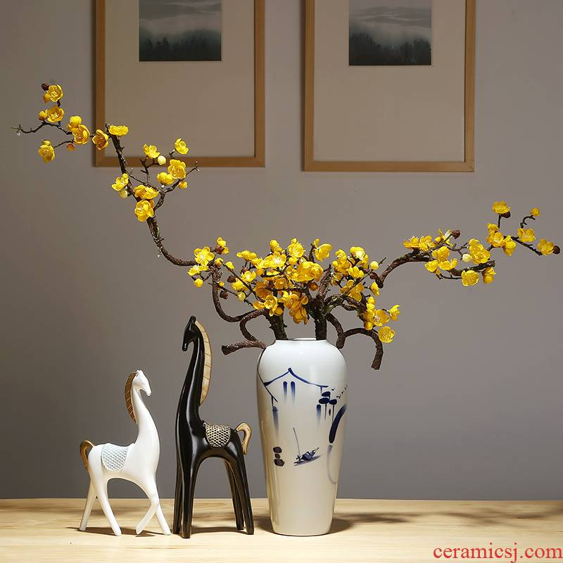 Jingdezhen ceramics vase modern new Chinese style household dry flower arranging flowers adornment furnishing articles suit mesa vase
