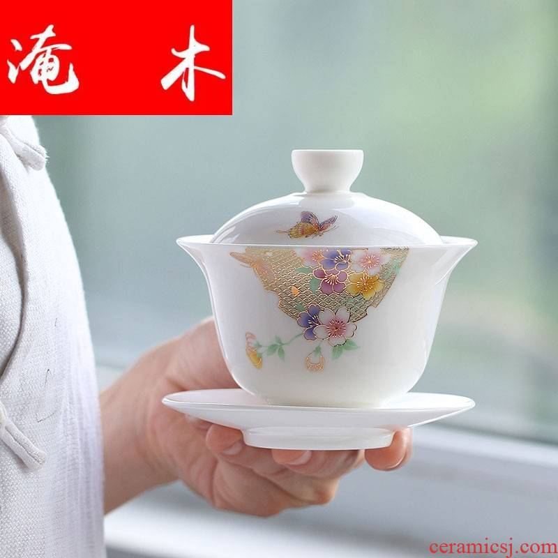 Flooded the wooden hand paint white porcelain tureen blue three cups to make tea bowl large jade porcelain kung fu tea set