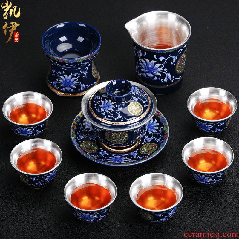 Silver colored enamel 999 coppering. As kung fu tea set gift box package sample tea cup of jingdezhen ceramic tea cup Silver cup home