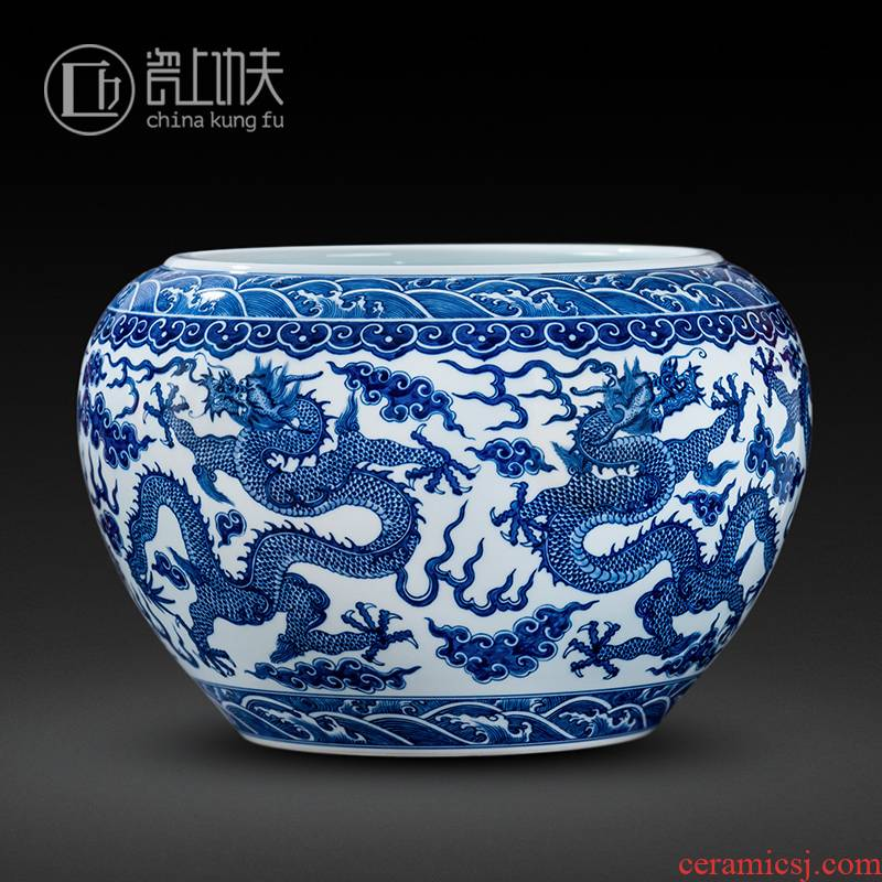 Jingdezhen blue and white dragon big crock porcelain ceramic vase hand - made furnishing articles sitting room large collections of porcelain porcelain arts and crafts