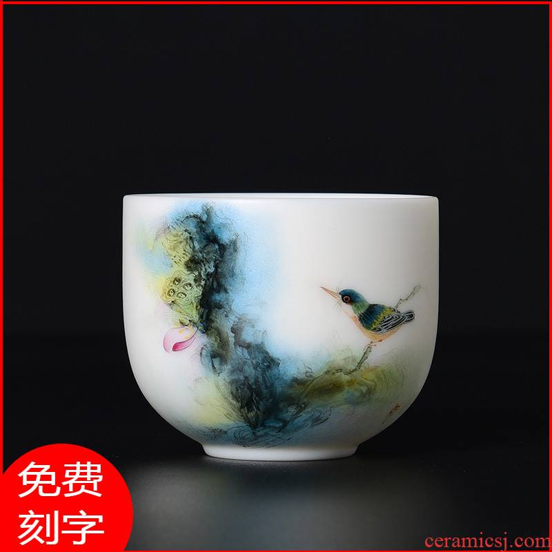 Hand - made dehua white porcelain teacup kung fu tea set jade suet jade master cup pure Hand - made porcelain sample tea cup single CPU