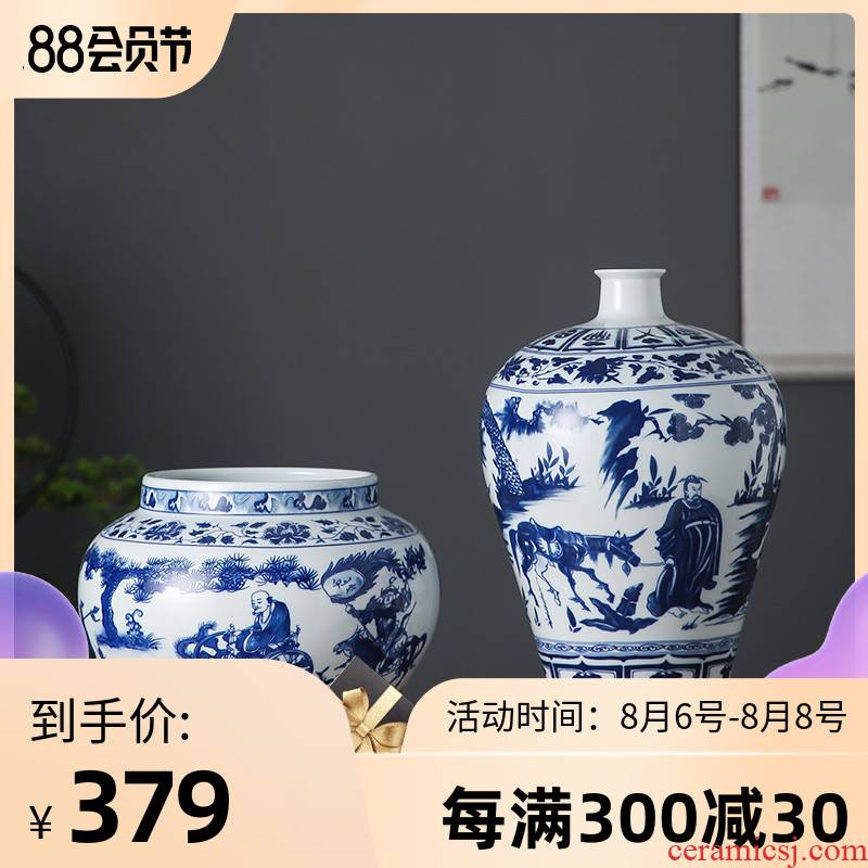 Archaize yuan blue and white porcelain of jingdezhen ceramics guiguzi down vase household rich ancient frame sitting room adornment is placed