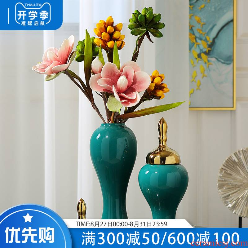 Light the key-2 luxury of modern ceramic vases, flower arranging dried flower implement new Chinese style furnishing articles, the sitting room porch between example home decoration