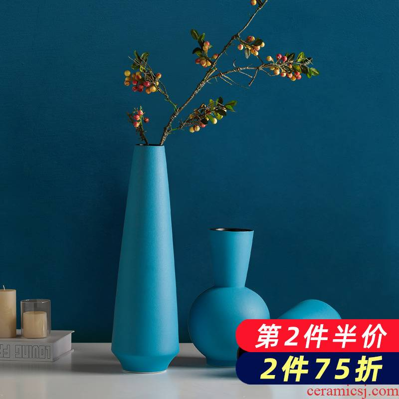 The Vases, ceramic blue dried flower adornment northern wind flower arrangement sitting room TV cabinet table accessories creative home furnishing articles