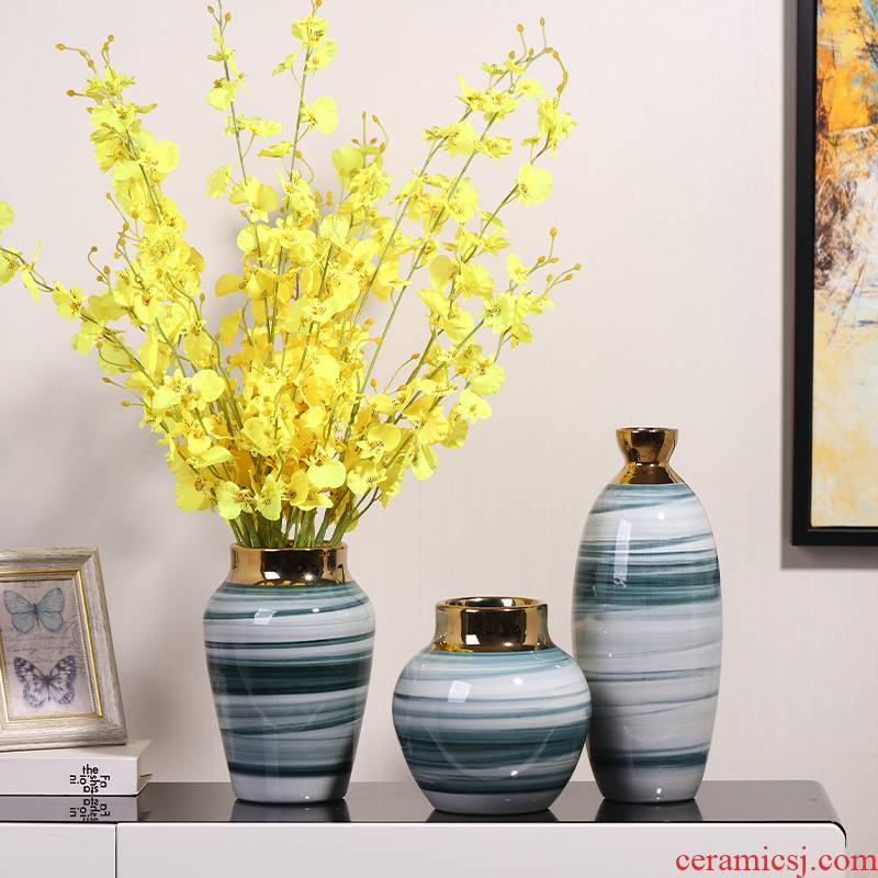 Modern light key-2 luxury ceramic vases, dried flowers, place to live in a TV ark, simulation flowers to decorate the sitting room porch table accessories