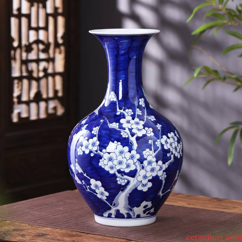 Jingdezhen ceramics blue blue and white porcelain vase furnishing articles sitting room of Chinese style household flower arranging TV ark, decoration decoration