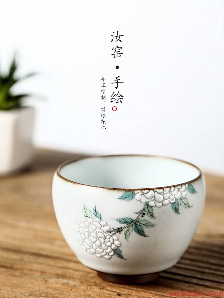 The Master cup single CPU jingdezhen hand - made teacup your up ceramic sample tea cup pure manual hydrangea kung fu tea set