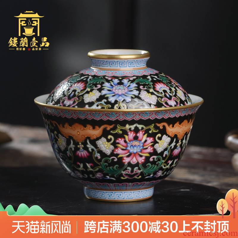 Jingdezhen ceramic all hand - made pastel black treasure phase only spend two to three tureen tea bowl of kung fu tea set