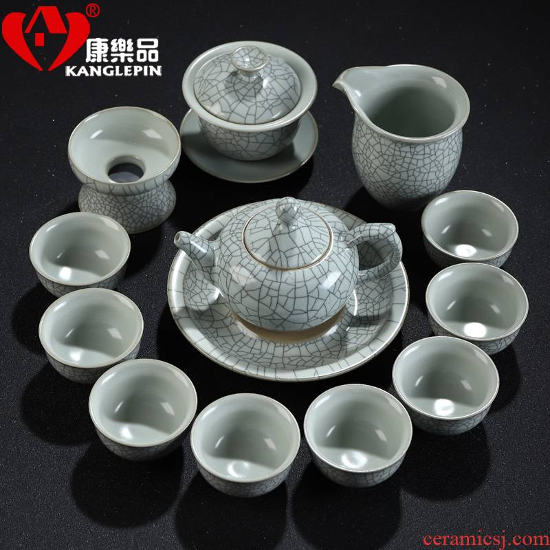 Recreational product longquan celadon kung fu tea set up tire iron lid bowl cups sharply of a complete set of stone tea tray