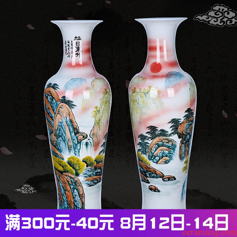 Jingdezhen ceramics of large vases, new Chinese style living room large furnishing articles hand - made the sunrise hotel gift