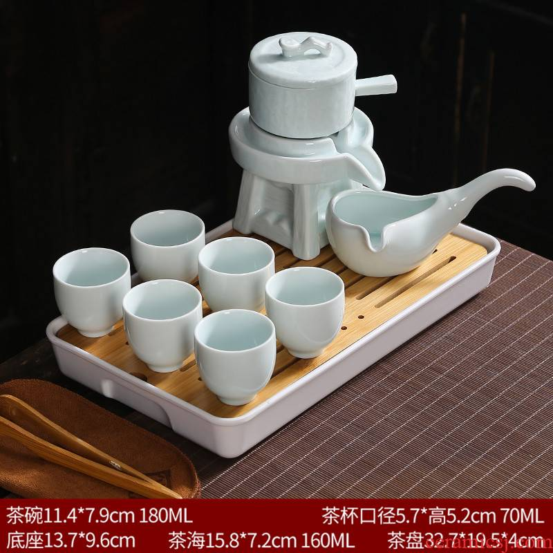 Celadon kung fu tea set household storage creative ceramic teapot tea cup half full automatic lazy