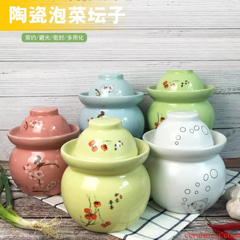 The Pickle jar ceramic household pickling salted duck dense eggs pickled vegetable grains storage tank sealing Pickle jar of jingdezhen