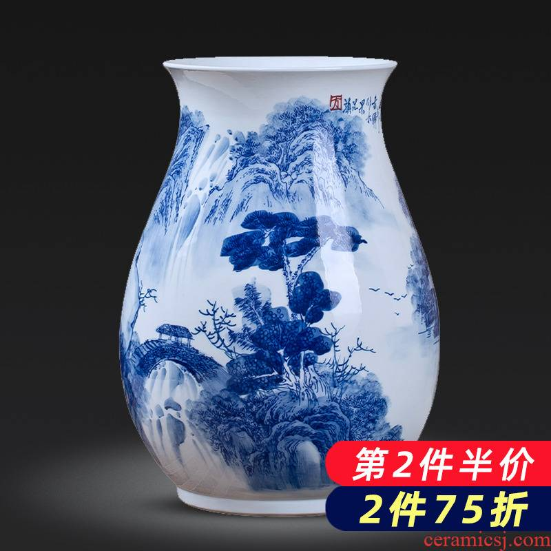 Jingdezhen porcelain ceramic hand - made of blue and white porcelain vases, flower arranging new Chinese style household furnishing articles sitting room porch decoration