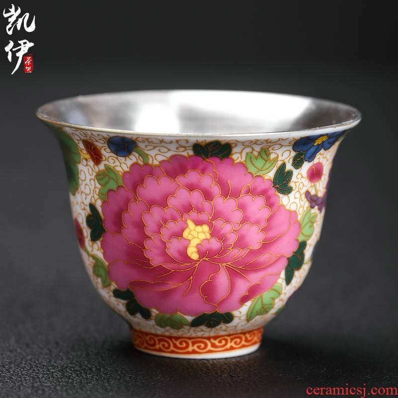 Silver colored enamel peony cup kung fu tea set sample tea cup of jingdezhen ceramic cup tea master cup tea cup