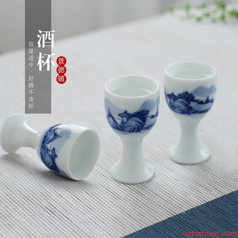 . Poly real jingdezhen hand - made landscape scene liquor cup household of Chinese style of blue and white porcelain antique small wine a small handleless wine cup