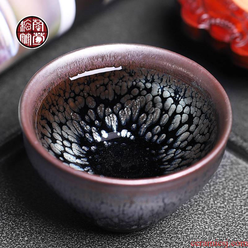 Jianyang built one masters cup to build kilns undressed ore oil droplets temmoku kung fu tea tea light cup ceramics single keller of restoring ancient ways