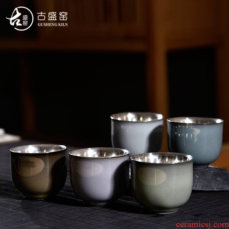 Ancient sheng up new koubei up with pure silver hand coppering. As silver cup meditation single tea cup, porcelain inlay silver cups of tea