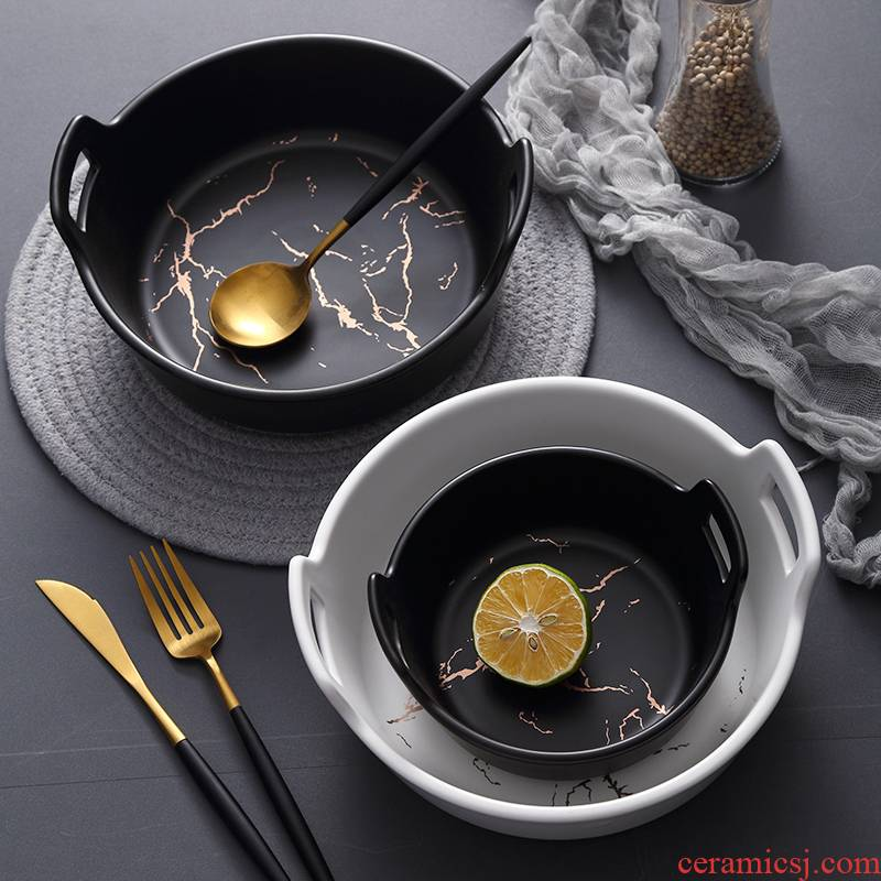 Marble ceramic web celebrity big ears big bowl dish bowl of creative move salad bowl home European dishes