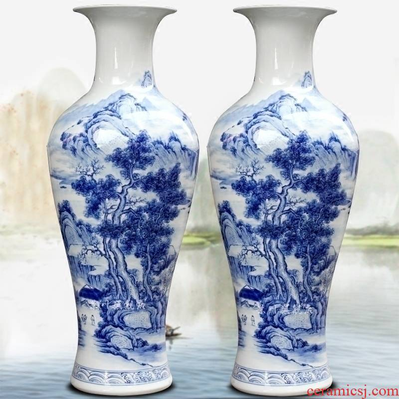 Jingdezhen blue and white porcelain is hand - made scenery khe sanh fishing implicit ceramic floor big vase home sitting room adornment is placed