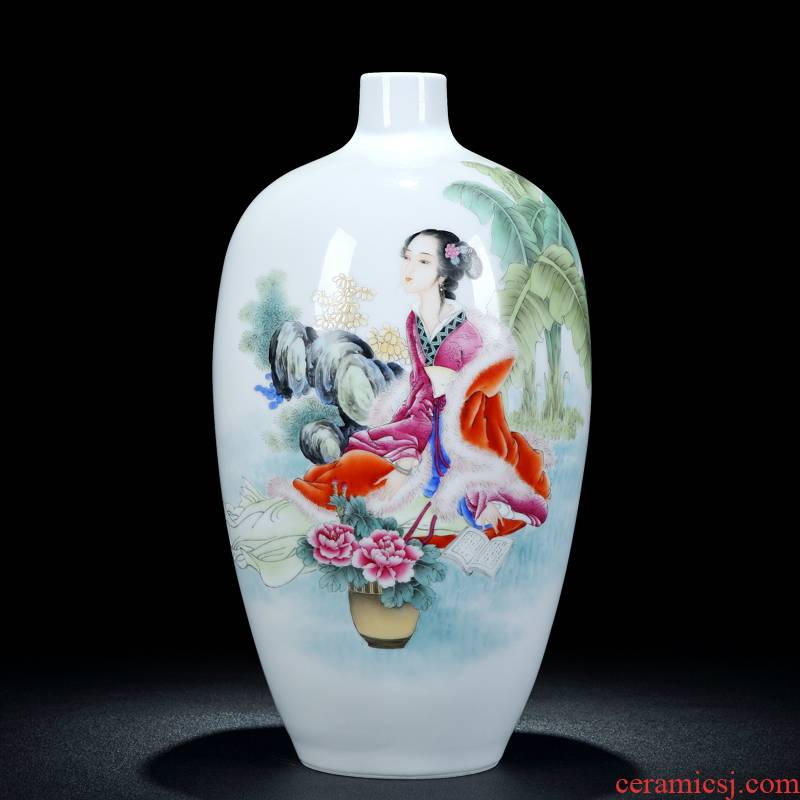 Jingdezhen ceramic new enamel vase Chinese style furnishing articles rich ancient frame flower arrangement sitting room home decoration wedding gift