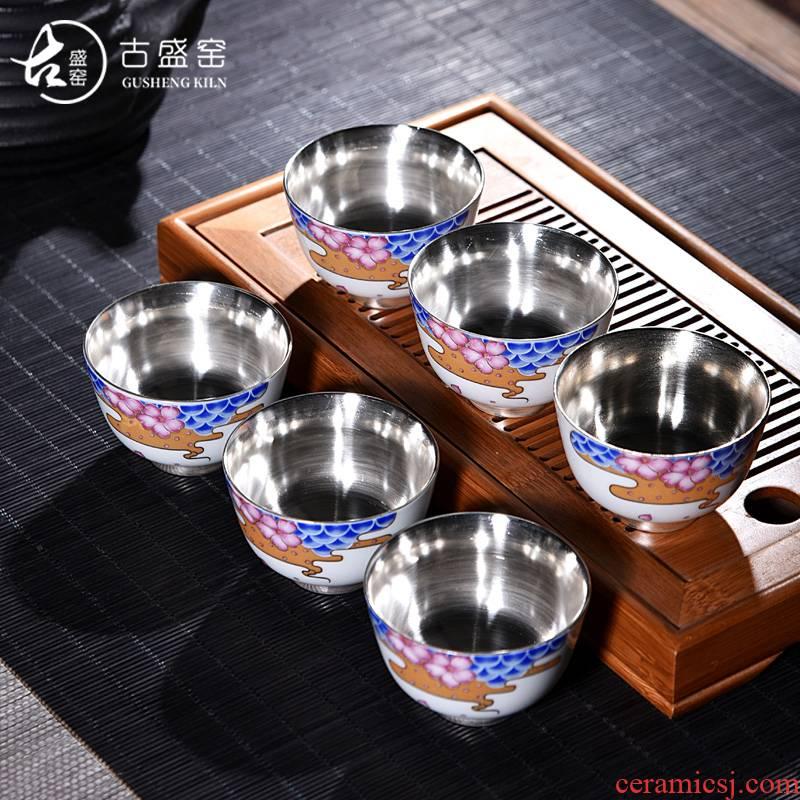 Ancient sheng up new elegant tasted silver gilding suet jade porcelain teacup small sample tea cup masters cup personal single fullness