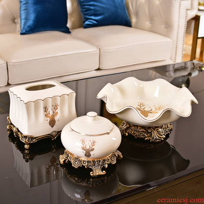 American light and decoration ceramics compote three - piece furnishing articles sitting room tea table dry fruit tray table melon dish home decoration