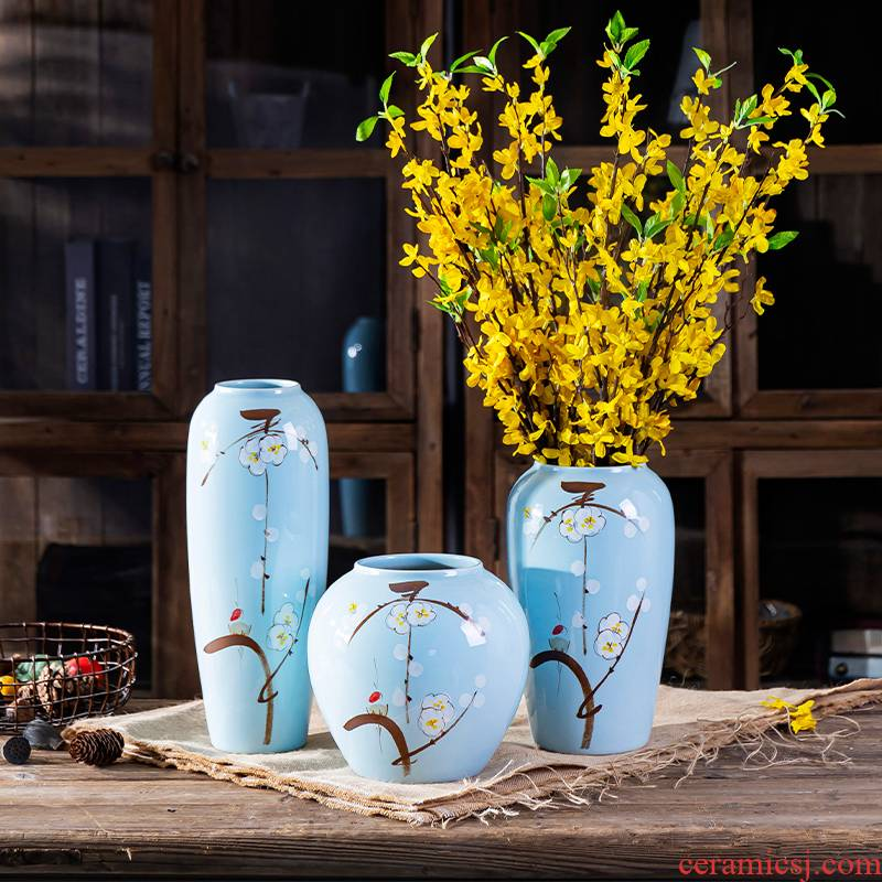 Jingdezhen hand - made ceramic vase furnishing articles dry flower vases, modern home decoration decoration table