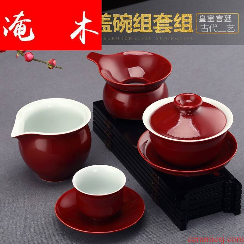 Submerged wood ji red ceramic tureen tea is tea cups three bowl bowl cover the home of kung fu