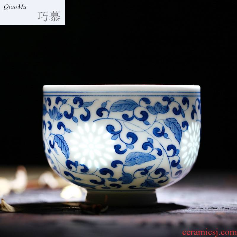 Qiao mu jingdezhen ceramic crystal glaze hollow out exquisite hand - made sample tea cup red blue and white porcelain cups