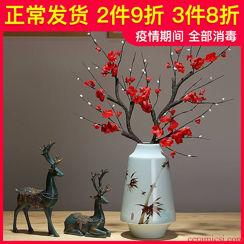 Jingdezhen ceramic new Chinese vase mesa simulation dried flowers flower arrangement sitting room porch villa I and contracted furnishing articles