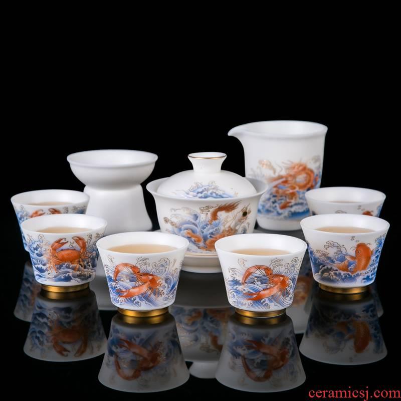Jingdezhen suet jade white porcelain small sets of kung fu tea set home sitting room ceramic cups tureen tea