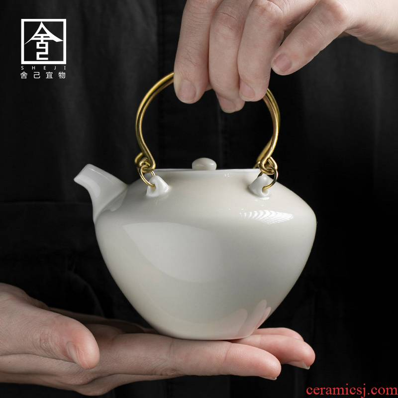 "The Self - ""appropriate physical plant ash pot of kung fu tea set ceramic teapot teapot girder household single pot of little teapot Japanese"